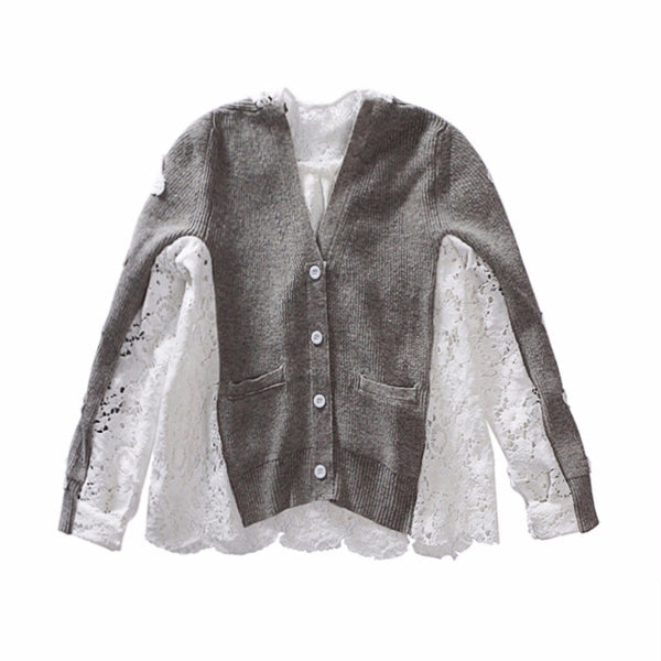 Special Design Tide Gray Patchwork Lace Long Sleeve Single Breasted V-neck Blouse