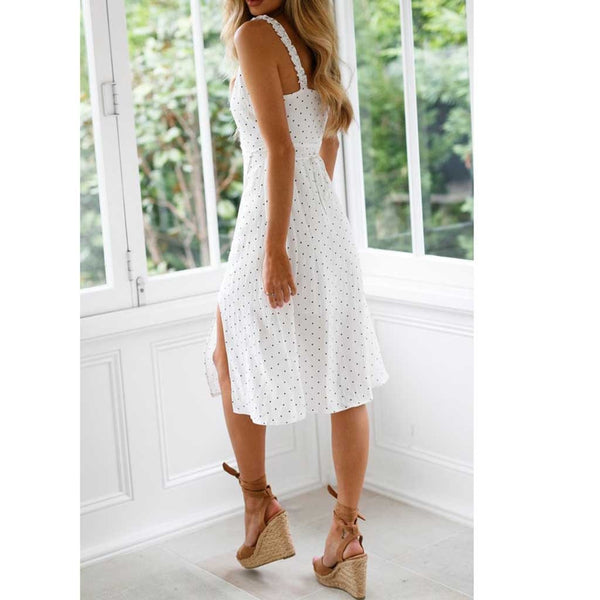 Spring Summer Women Holiday Dots Print Sleeveless Bohemia Dress