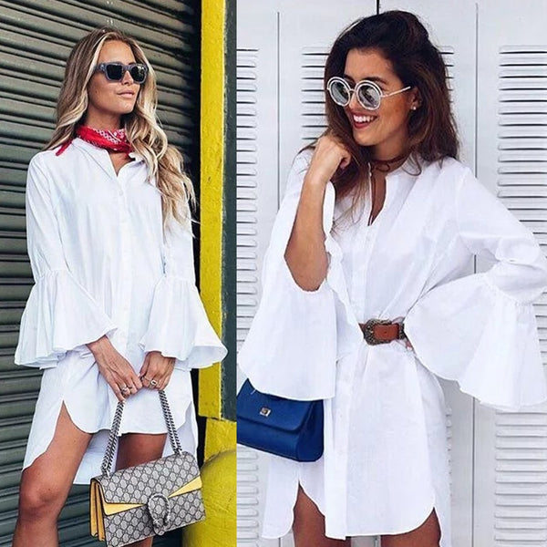 Women Summer Fashion Flare Sleeve Elegant Mini Dress