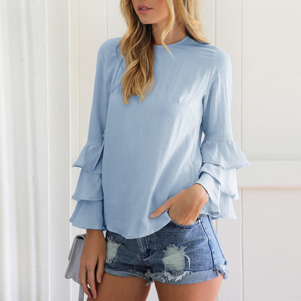 Women Casual Plus size Flare Sleeve Blouse