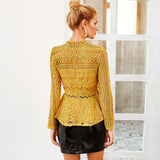 Women Lace Hollow Out Ruffles Long Sleeve Blouse