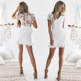 Women Summer Casual Lace Sexy White Mini Dress