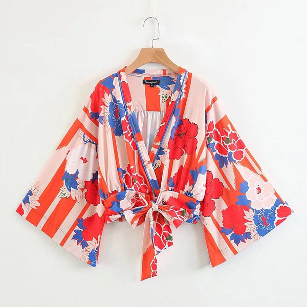 Women Chic V Neck Kimono Floral Lace Up Shirts Blouses