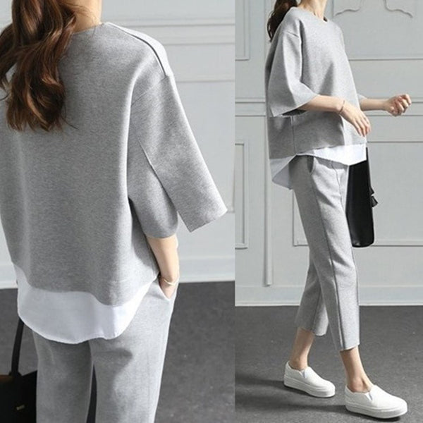 O-Neck Fake Two Pieces Loose Splits Sleeve Cotton Suits