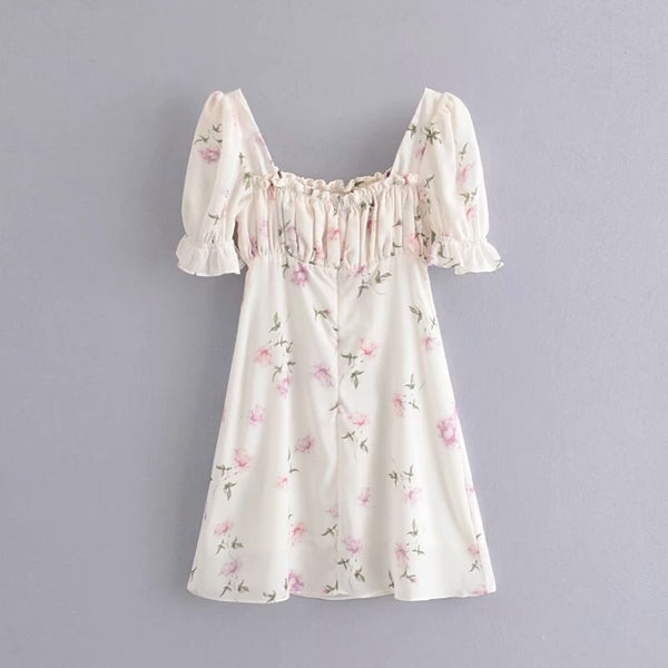 Short Sleeve Backless Sexy Pink Floral Chic Mini Dress