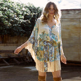 Women Printed Elegant Bohemian Seven Sleeve Loose Mini Dress