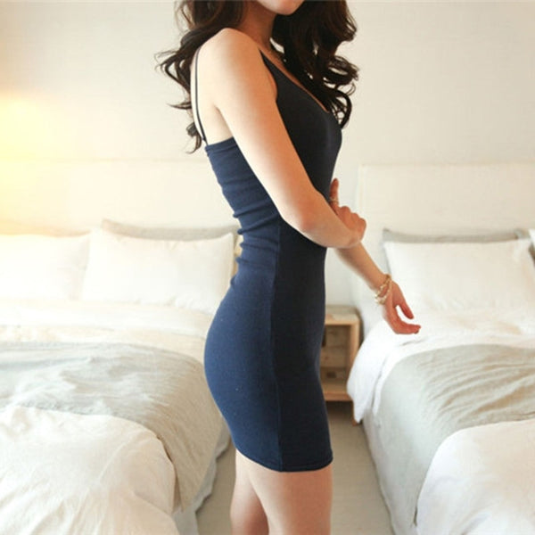Women Sexy Backless Basic Dresses Sleeveless Slim Bodycon Dress