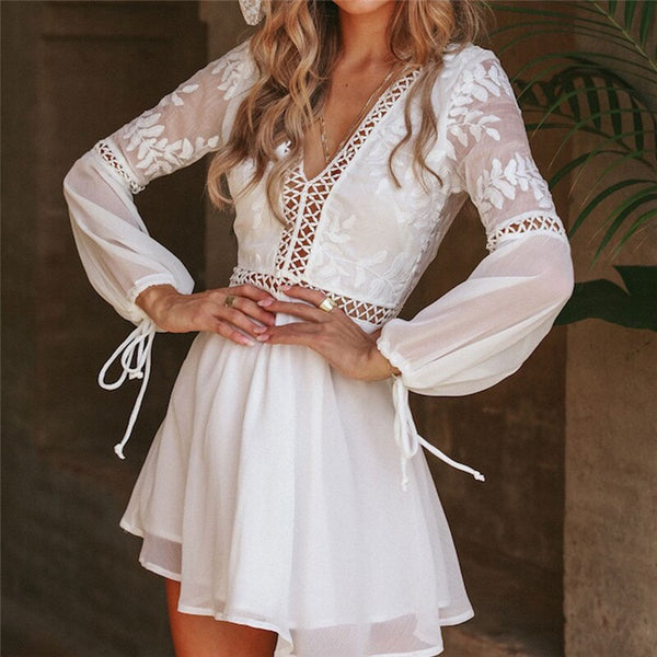 New Fashion Women Casual  Sexy V-Neck Long Sleeve Lace Mini Dress