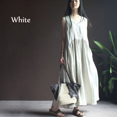 Summer Solid Color Tank Dress Cotton Linen V-Neck Loose Sleeveless Maxi Dress