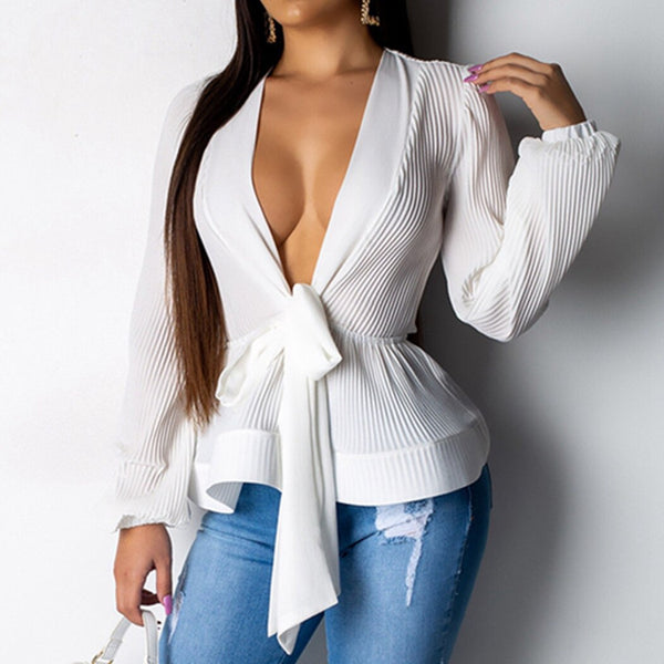 Sexy Deep V-Neck Chiffon Lace Up Bow Peplum Blouse