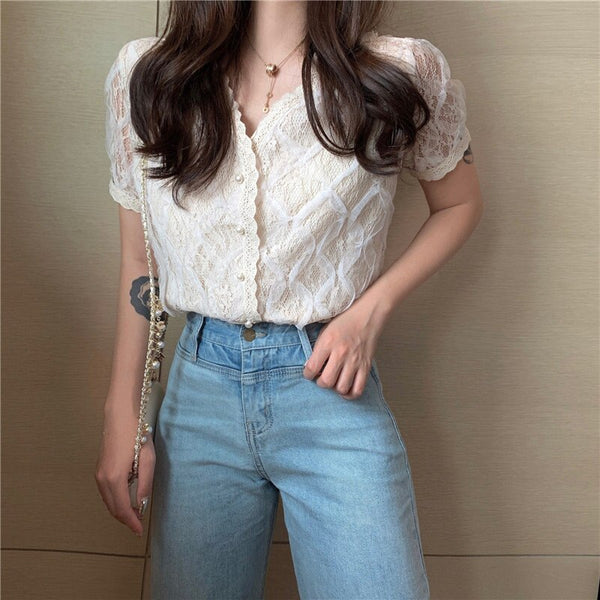 Women Short Sleeve Fresh All-Match Simple Sweet Shirt (photo color One Size)