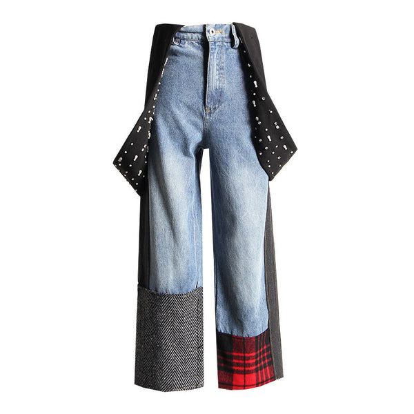 Women High Waist Blue Plaid Stitching Loose Nailed Long Wide Leg Jeans
