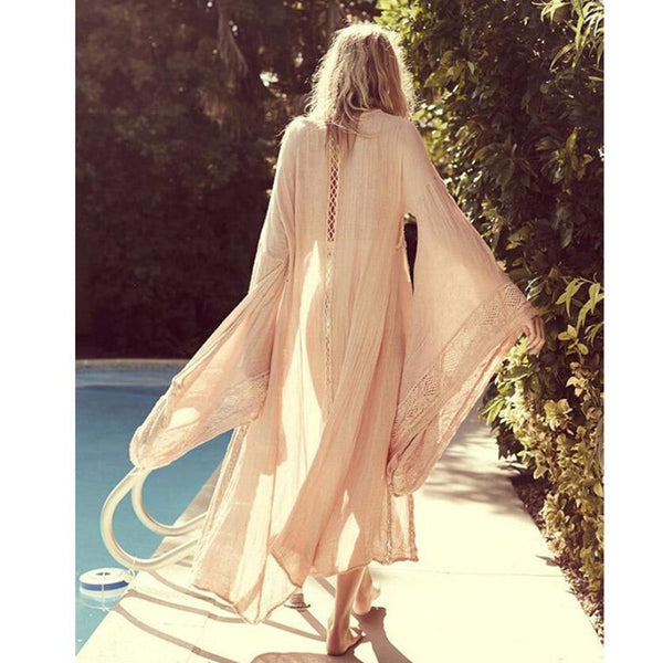 New Stylish Horn Sleeve Lace Hollow Splice Cardigans Maxi Dress