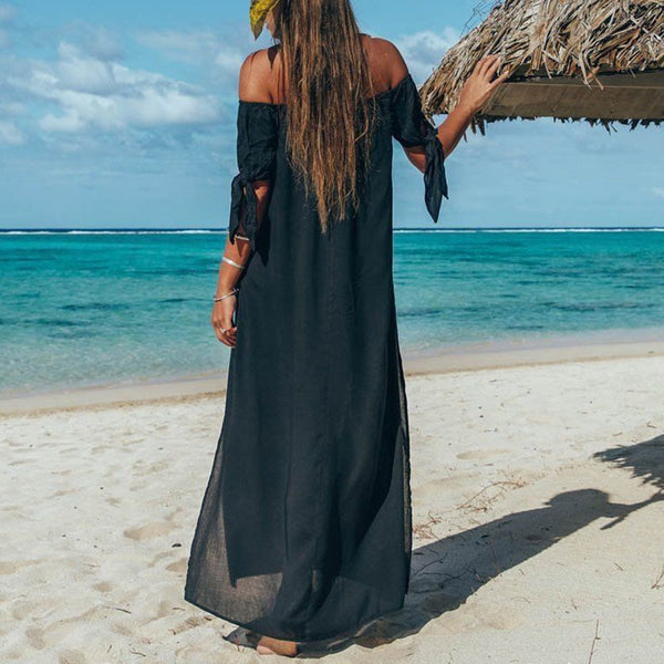 Women Sexy Off shoulder Short Sleeve High Split Long Maxi Dress