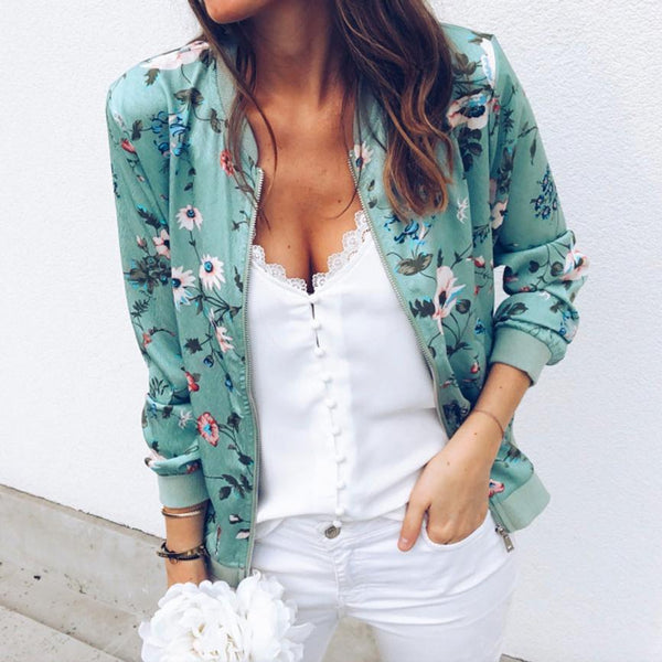 Womens Retro Floral Zipper Up Bomber Outwear Jacket