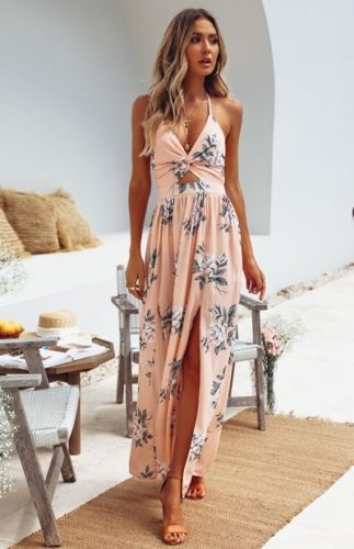 Womens Summer Floral Halter Maxi Dress