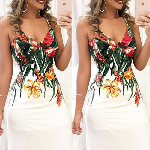 Summer Fashion Women  Floral Sleeveless Strap V neck Maxi dress