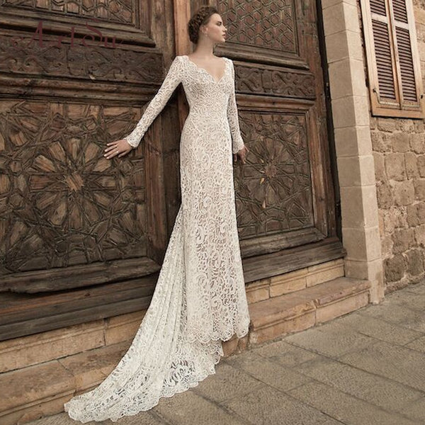 Women See Through Floral V-Neck Elegant Lace Wedding Dresses
