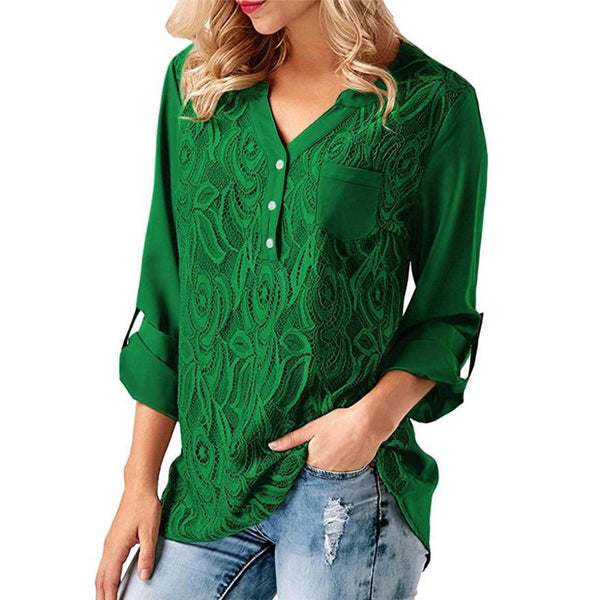 Women Solid V-Neck Lace Long Sleeve Shirts