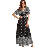 Women  V-neck Three Quarter Sleeve Floral Print Ethnic Bohemia Dress
