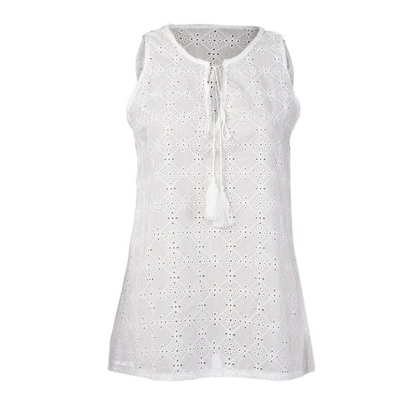 Sweet Lace Vest V Neck Blouses Tops