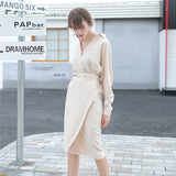 Summer Fashion Women Sexy V Neck Slim Hem Split Casual Temperament Bandage Maxi Dresses