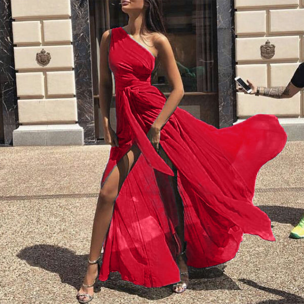 Summer Women Pure Color Asymmetrical One Shoulder Chiffon Maxi Dresses