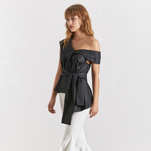 Shoulder Shirt Tops Female Sleeveless Lace up Irregular Shirts