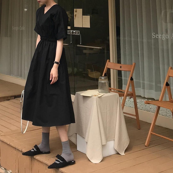 Women Special Slim Elastic Waist Short Sleeves Maxi Dress