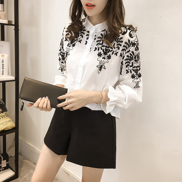 Fashion embroidery women's clothing long Sleeve Casual Women Blouse shirt office lady women tops