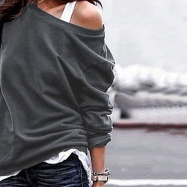 Women Casual Long Sleeve Solid Color O-Neck Hoodies Sweatshirts