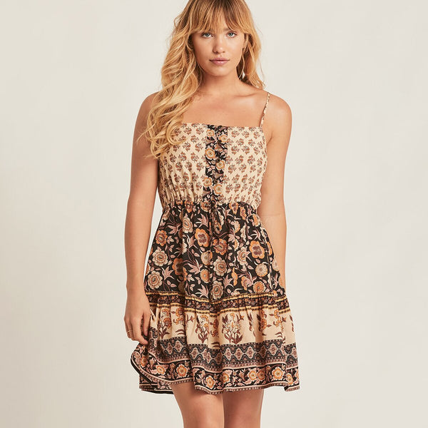Floral Print Adjustable Straps Chic Mini Dress