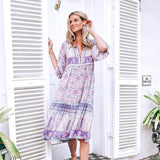 Women Floral Print V-Neck Button Front Casual Bohemia Dresses