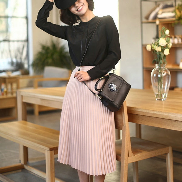 Summer New Fashion Women High Waist Pleated Solid Color Skirts