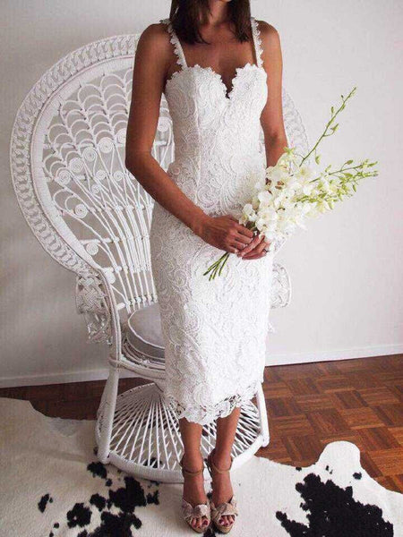Women Sexy Sleeveless Lace Crochet Hollow Out Slim Spaghetti Strap Bodycon Dress