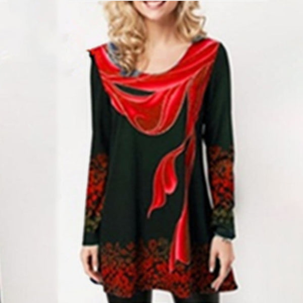 Floral Print O-Neck Full Sleeve Plus Size Blouse Tops