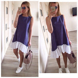 Summer Women Casual Loose Patchwork Sleeveless Ruffles O-Neck Mini Dress