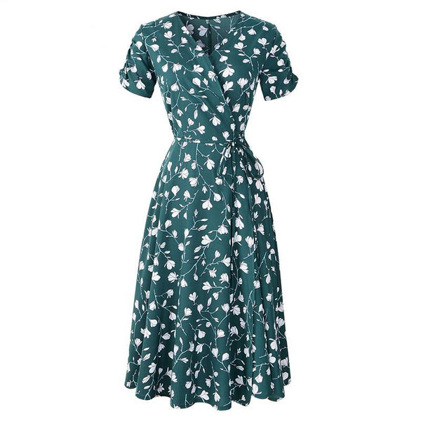 Women Print Floral  V Neck Short Sleeves Chiffon Bohemia Dresses