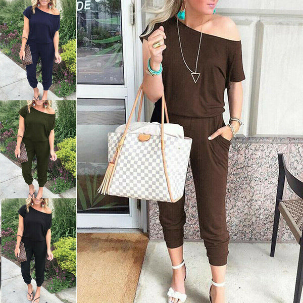 Women Casual One-Shoulder Wide Leg Jumpsuit