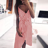 Stripe Printing Sleeveless Off Shoulder Party Dress