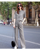Women New Stylish Casual Solid Color Short Sleeve Two-piece Suits