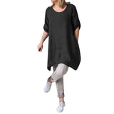 Women Summer Style Linen  Cotton Casual Plus Size Blouses Tops