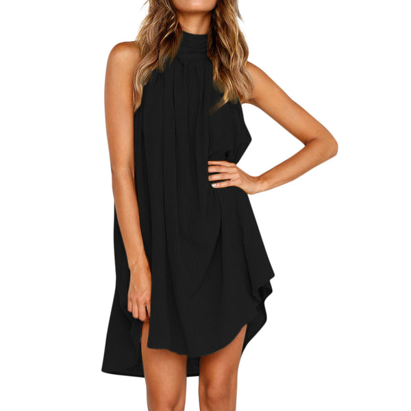 New Style Womens  Irregular  Sleeveless Mini Dress