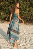 Strapless Sexy Retro Printed Irregular Beach Maxi Dress