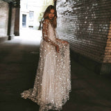 Star Sequin Backless Long Sleeve Elegant Party Wedding Dress