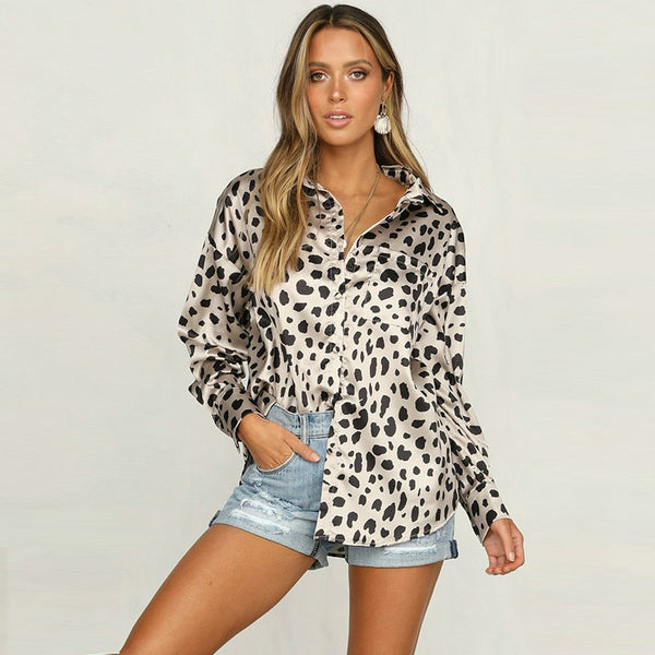 Women Long SleeveGlitter Satin Leopard Blouses