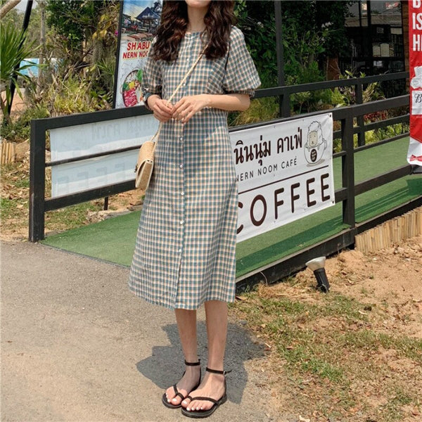 Women Summer Short Sleeve Wild Slim Single-breasted Casual Dress