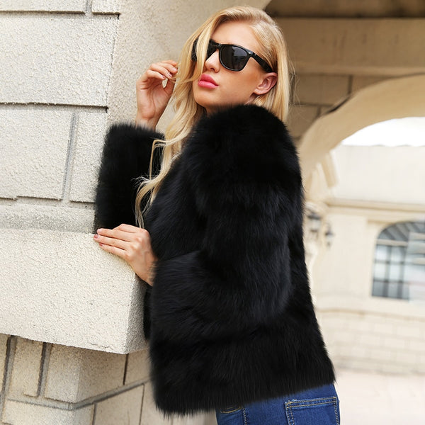 Women Short Faux Fur Coats Long Sleeve O-Neck Solid Black Casual Coat
