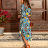 Women Long Dress Floral Print Summer Maxi Bohemian Beach Dress Elegant Party Dress
