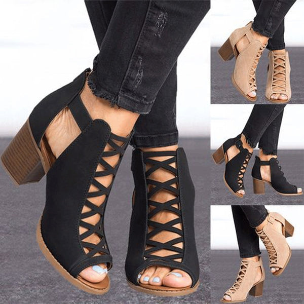 Women Summer New Hot Fish Mouth Exposed Toe High-Heeled Sandals